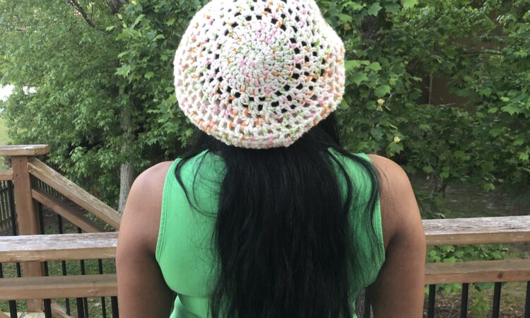 Terry Ann Hat, a free crochet pattern made with a DK weight yarn.