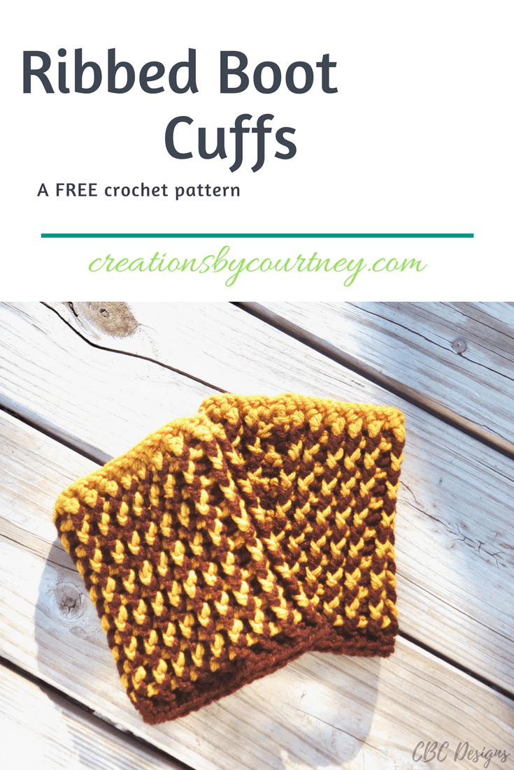 Ribbed Boot Cuffs crochet pattern: a free pattern that is made with front and backpost crochet stitches. It works up quickly, and looks great in one color or two. Grab a small amount of worsted weight, and get started today.