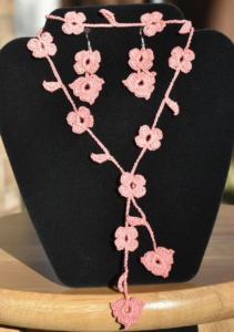 Bloom Necklace and Earring Set by Natali's Crochet