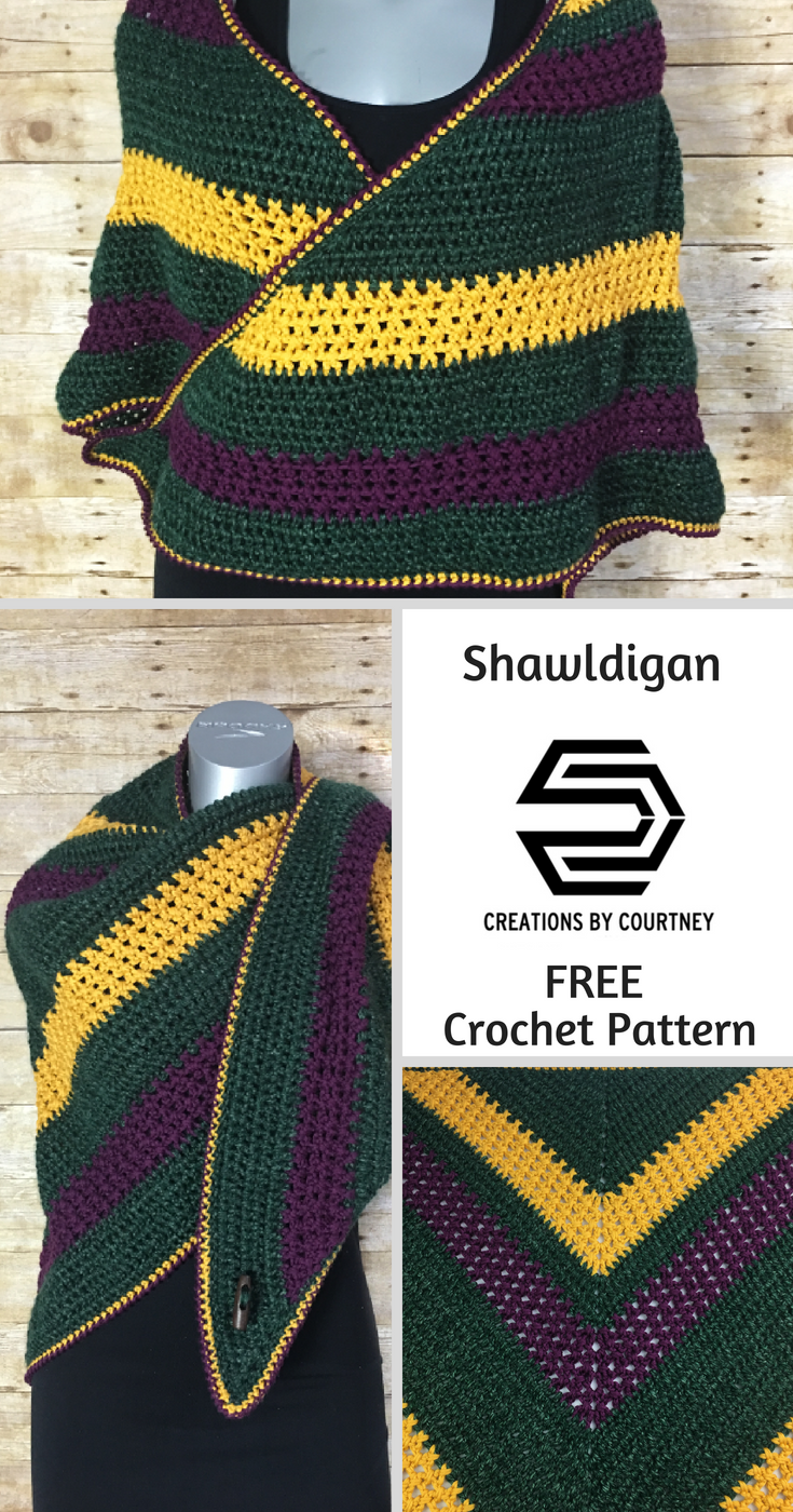 Shawldigan = shawl + cardigan, a free crochet pattern. It can be worn in multiple styles.