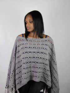 X-capade Poncho, a crochet pattern using worsted weight yarn.
