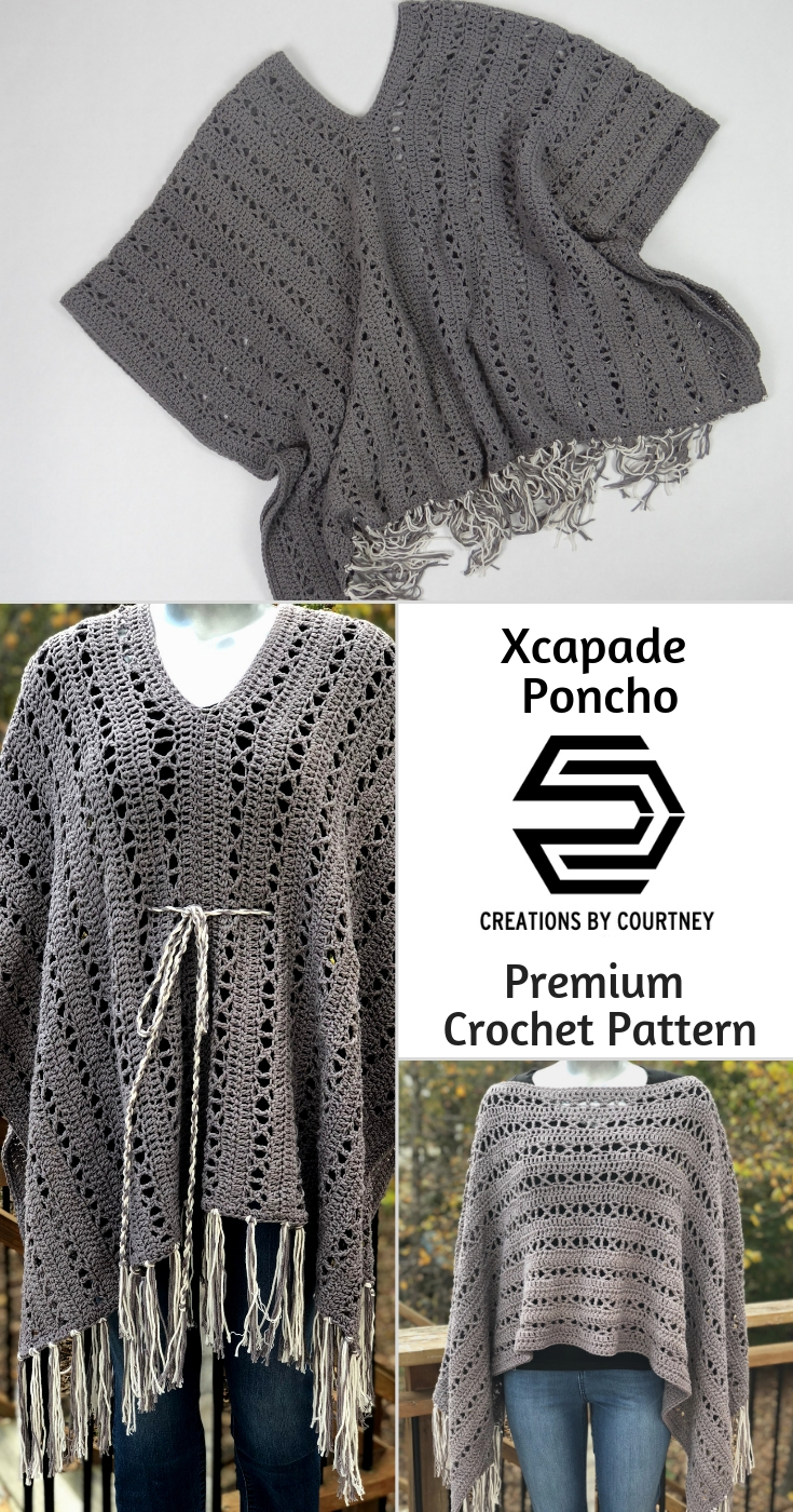 The X-capade Poncho is an intermediate crochet pattern using worsted weight yarn. It's a great layering piece to wear year-long over a turtleneck and jeans, or a long spring dress.