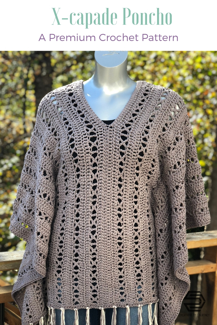 The X-capade Poncho is an intermediate crochet design that offers visual and stitching interest. This design uses worsted weight yarn. It's a great layering piece to wear year-long over a turtleneck and jeans, or a long spring dress.