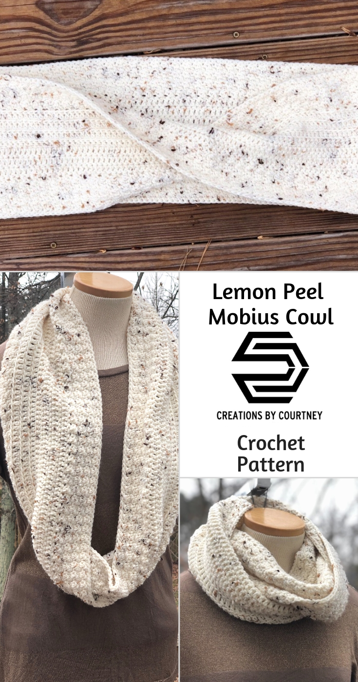 The Lemon Peel Mobius Cowl crochet pattern is a quick project using just the lemon peel stitch and double crochet. This is a great accessory for any chilly weather. #crochetpattern #crochetaccessory #cowl #mobius