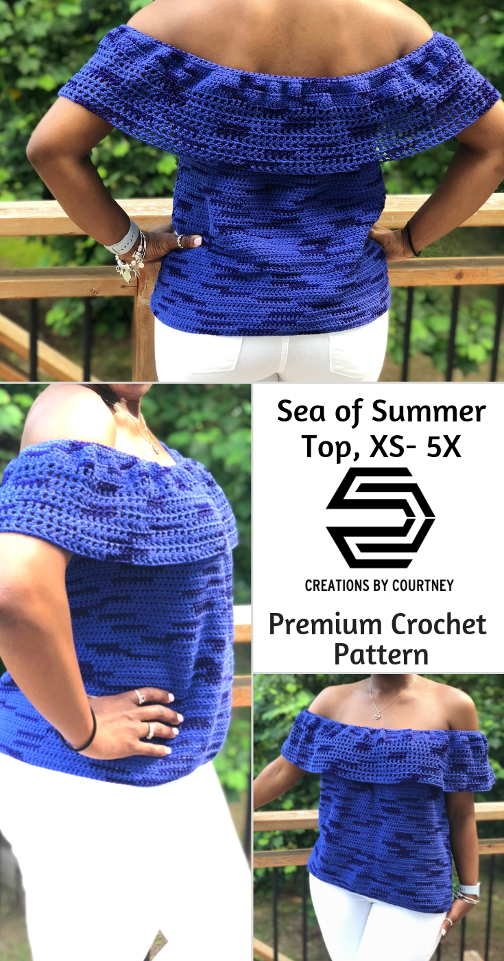 The Sea of Summer Top is an easy crochet pattern using DK weight yarn. Simple shaping to compliment all shapes from XS to 5X.