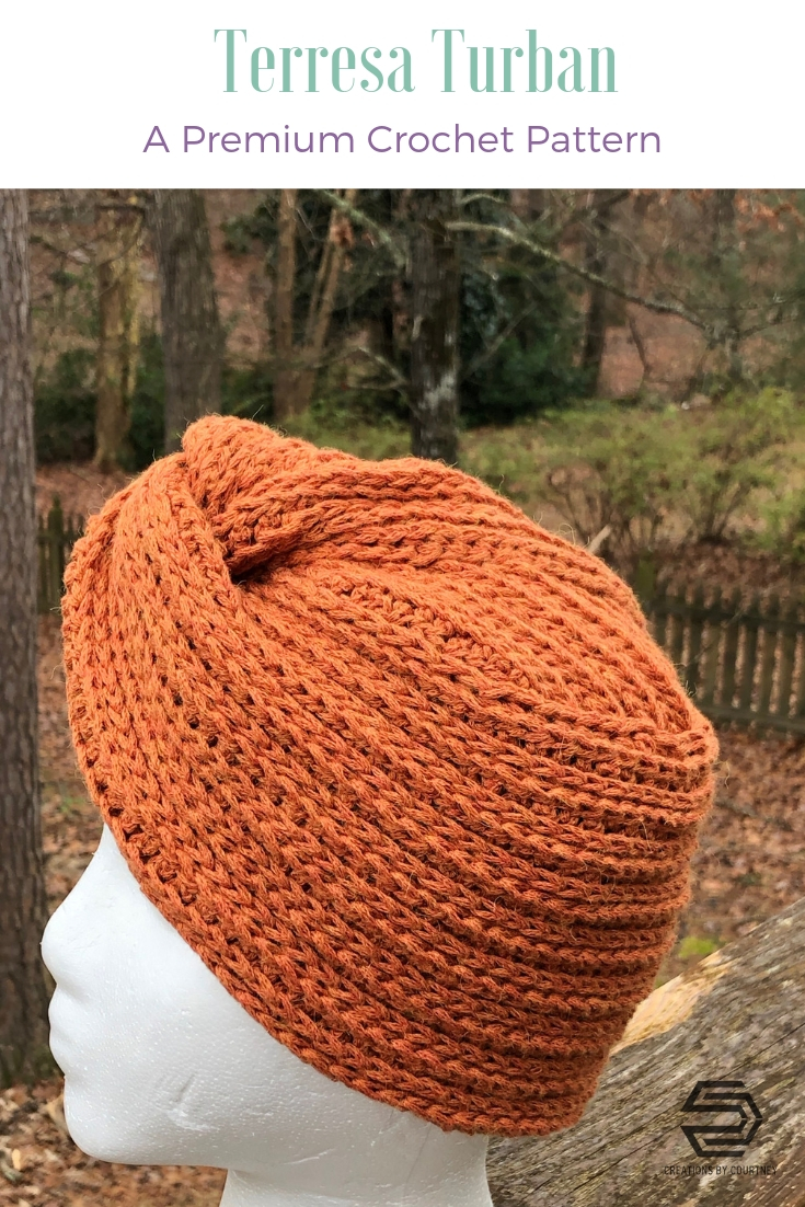 The Terresa Turban is an accessory for any occasion. This pattern requires one skein of worsted weight yarn and a size US J/10 hook.