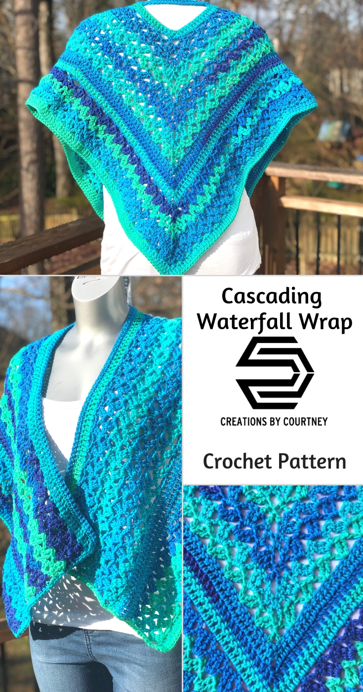 The Cascading Waterfall Wrap is an intermediate crochet pattern that uses less than 3 skeins of RHSS Stripes. You can create a beautiful accessory for style and warmth through the transition of each season.