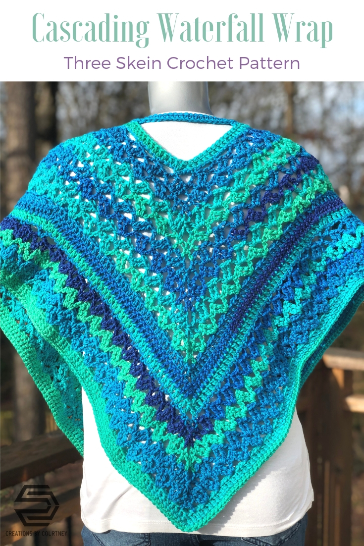 The Cascading Waterfall Wrap is an intermediate crochet pattern. You can create a beautiful accessory for style and warmth through the transition of each season.