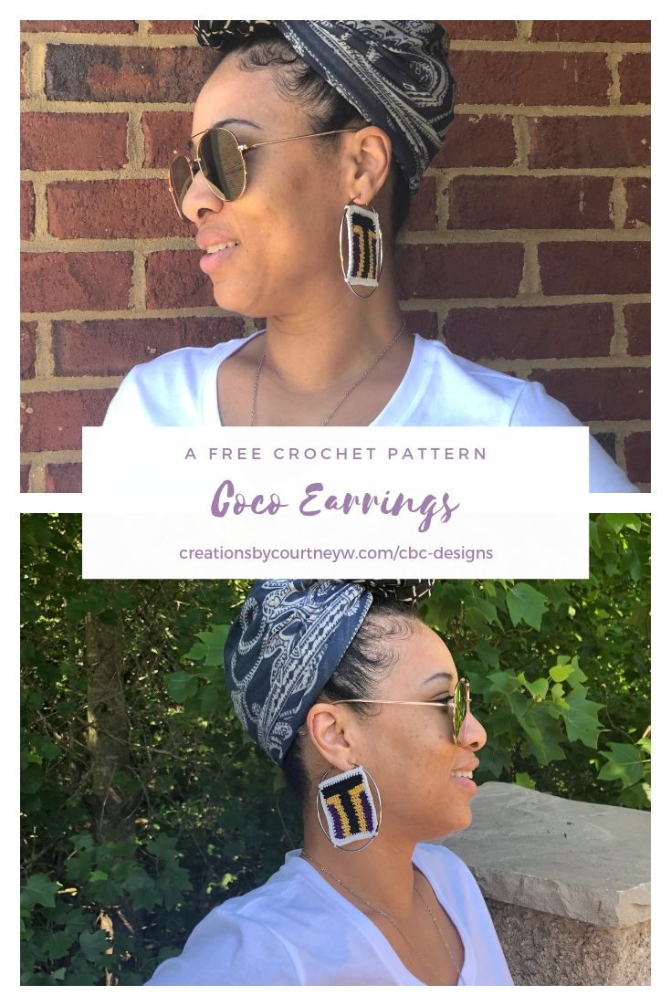 The Coco Earrings are a free crochet pattern to compliment the Coco Top. Wear these earrings for many occasions to show your unique style.