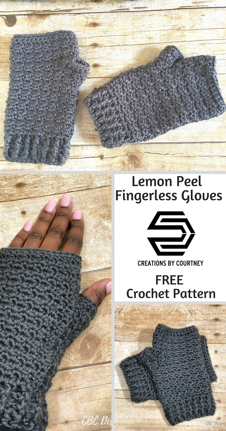 Free Crochet Pattern: Lemon Peel Fingerless Gloves by Creations By Courtney
