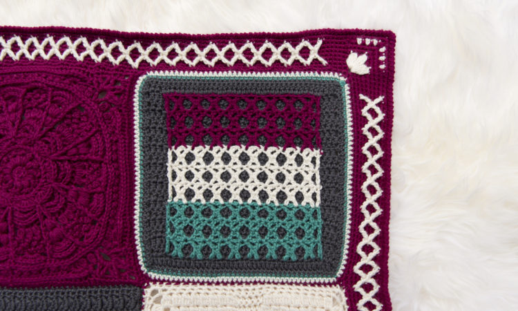 Kisses Square, a free crochet pattern, and part of the Creative Crossings Blanket.