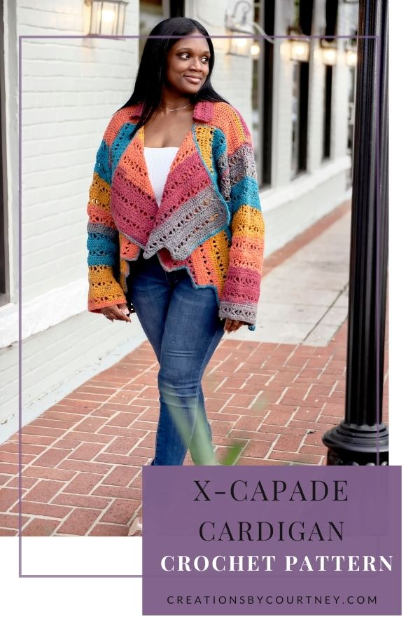 The X-capade Cardigan is a size-inclusive crochet Pattern to fit XS to 5XL. This uses worsted weight yarn, simple stitches and minimal seaming. You're sure to turn heads with this unique hemline. #sizeinclusizcrochetpattern #CreationsByCourtney #crochetpattern