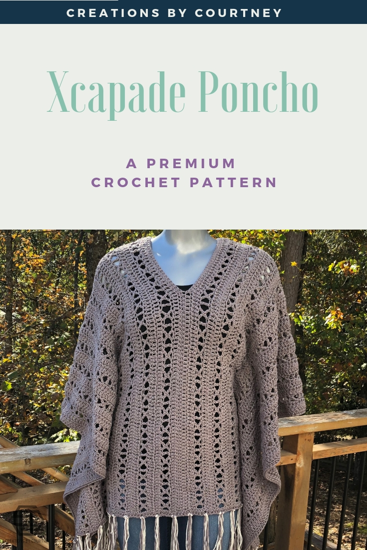 The X-capade Poncho is an intermediate crochet pattern that offers visual and stitching interest. It's a great layering piece to wear year-long over a turtleneck and jeans, or a long spring dress.