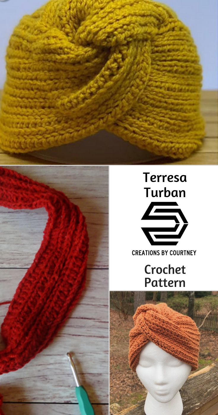 No matter the color of yarn, the Terresa Turban crochet pattern is an easy, one skein project for that worsted weight that's been hanging out on your shelf.