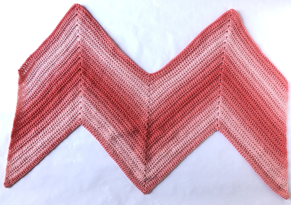 Sunrise Chevron Wrap, a crochet pattern made with just one skein of Red Heart Super Saver Ombre