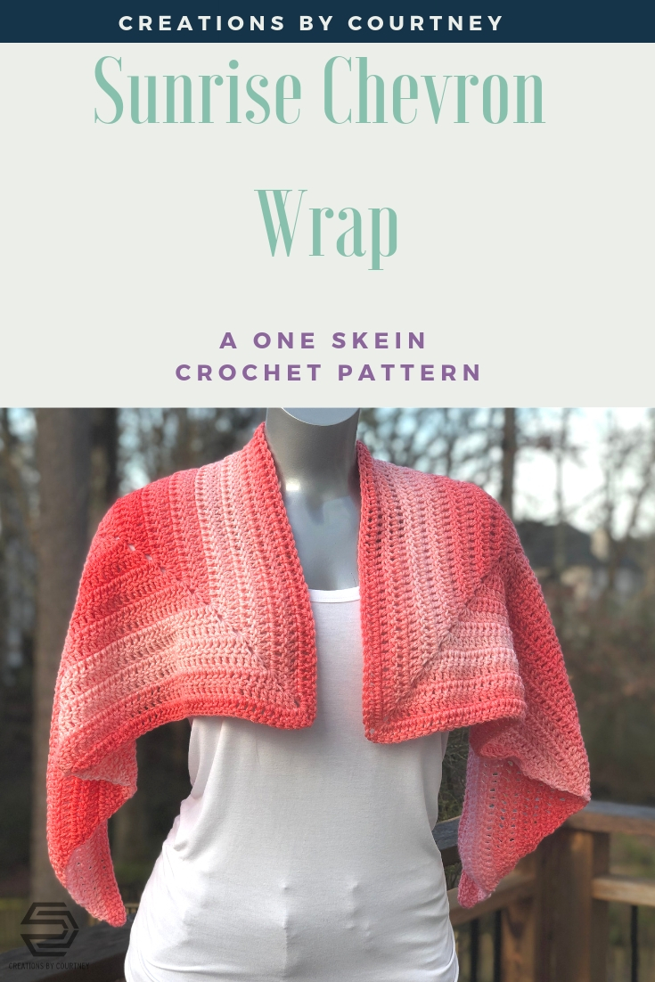 The Sunrise Chevron Wrap crochet pattern uses only one skein of Red Heart Super Saver Ombre. That's only 482 yards of worsted weight yarn to have a lightweight wrap for cooler temps.