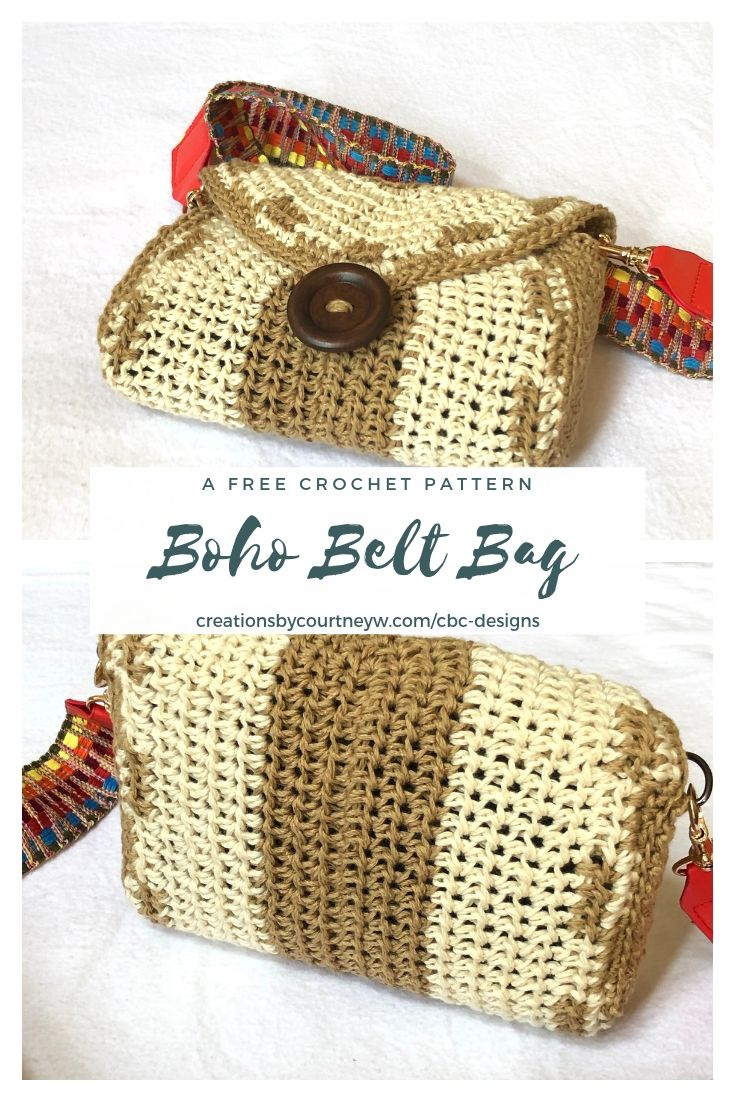 The Boho Belt Bag is a free crochet pattern that has function and style. Instructions are included for a pocket and making belt loops, if you don't have a strap to use.