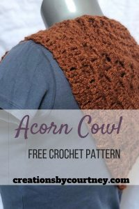 The Acorn Cowl is a crochet pattern that offers C2C and front post extended stitches to create a unique wearable accessory that can be worn alone or under outerwear.