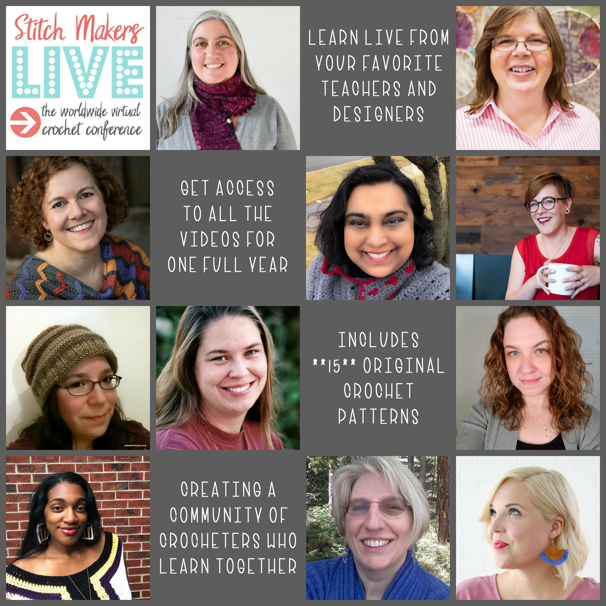 Stitch Makers Live 2019, the world's first online crochet conference where you can learn from your favorite teachers and designers. 15+ original crochet patterns just for you!  Creating a community of crocheters who learn together.