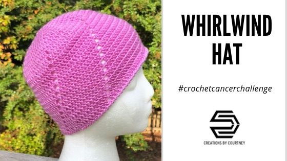 The Whirlwind Hat made in lavender represents all cancers to bring awareness of offering support in small ways to create large impact.