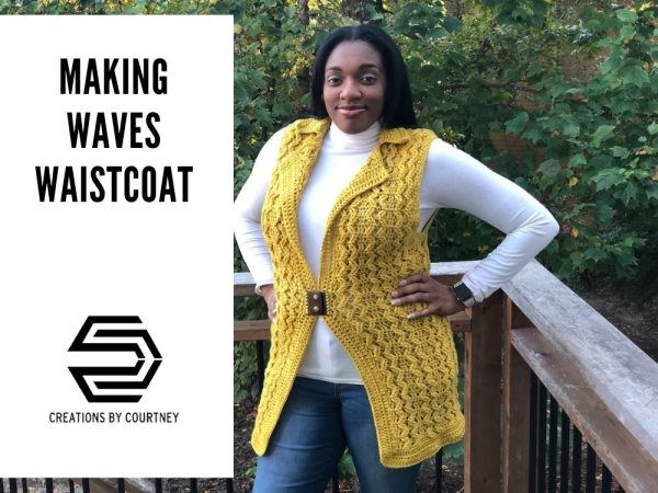 The Making Waves Waistcoat crochet pattern is size inclusive with instructions to make Small through 5X-Large. Learn how to save 10-15% on the exclusive kit by Knitcraft and Knittery