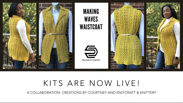 Pre-order Kits from Knitcraft & Knittery for the Making Waves Waistcoat crochet pattern by Creations By Courtney