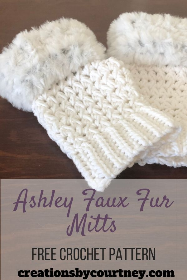 The Ashley Faux Fur Mitts are stylish, and deceptively warm. Have fun with this project by choosing some faux fur in pink or blue and your favorite worsted weight in a coordinating color. This free pattern is available in 3 adult sizes.