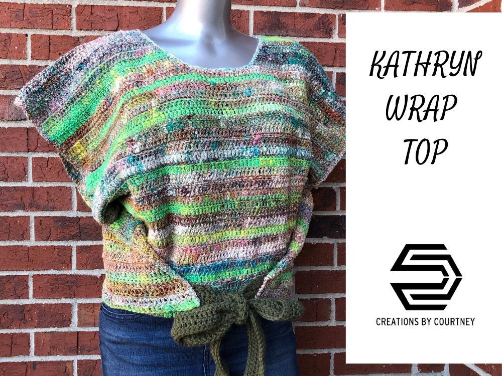 The Kathryn Wrap Top is a size-inclusive crochet pattern. This is a perfect layer piece for spring and summer over a dress or with jeans.