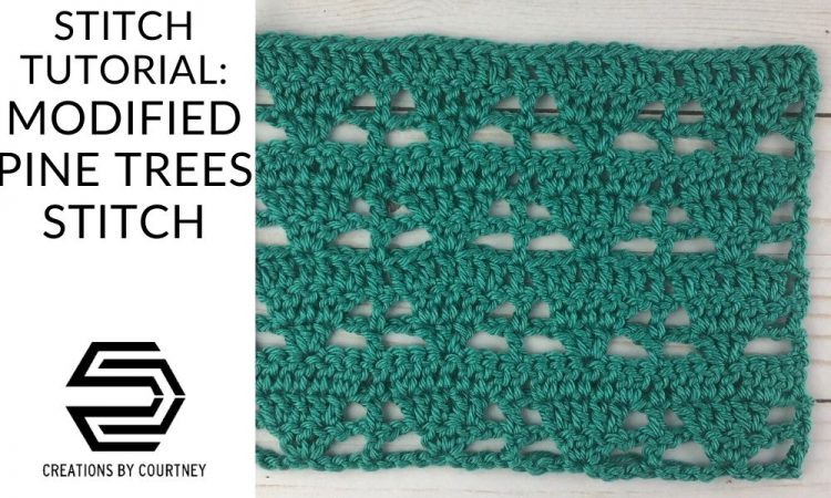 The Modified Pine Trees Stitch offerings alternating lacy and slid sections that can be worked flat and in the round.