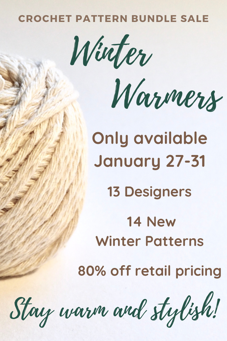 The Winter Warmers Crochet Pattern bundle is only available January 27-31! Get 14 new crochet accessory patterns and a cuddly kawaii for 80% off retail prices.