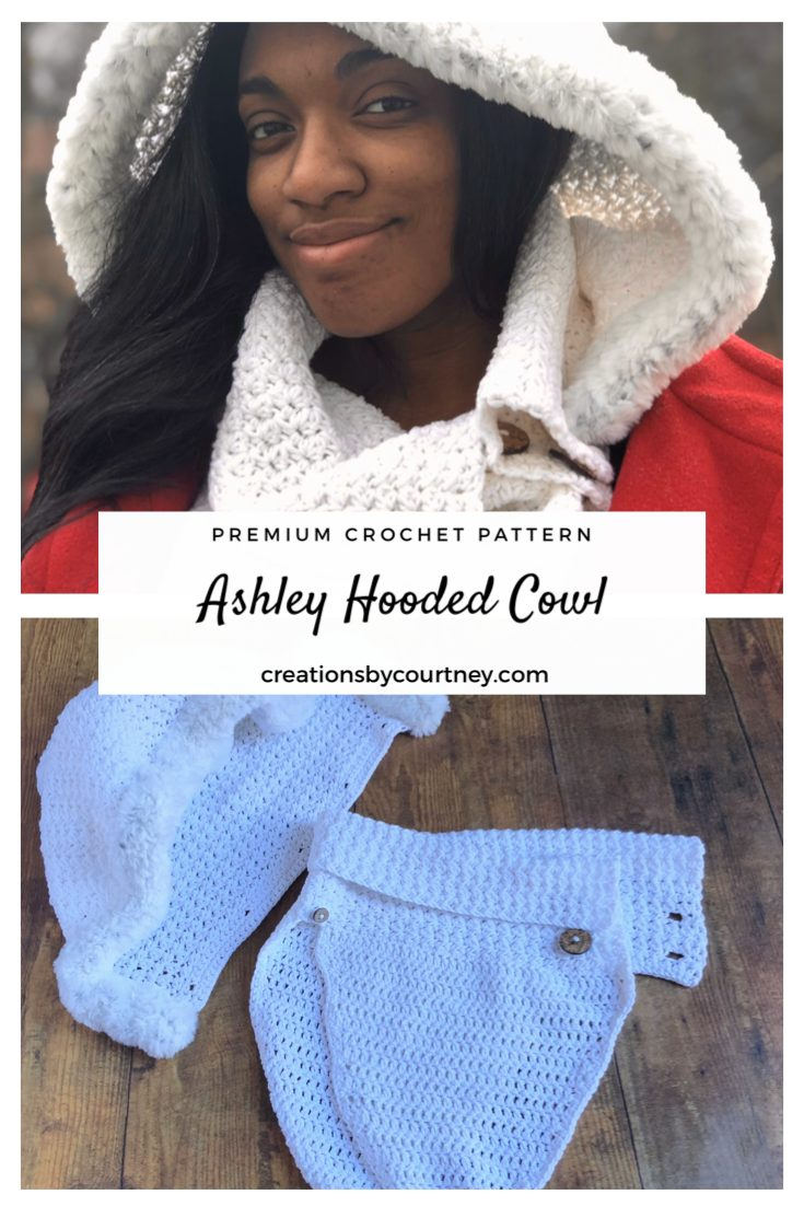 The Ashley Hooded Cowl crochet pattern offers texture with the half double crochet cluster, and softness with Go for Faux Thick & Quick. The hood is detachable so you can adjust warmth and style as needed. #crochetpattern #crochetaccessory #CreationsByCourtney