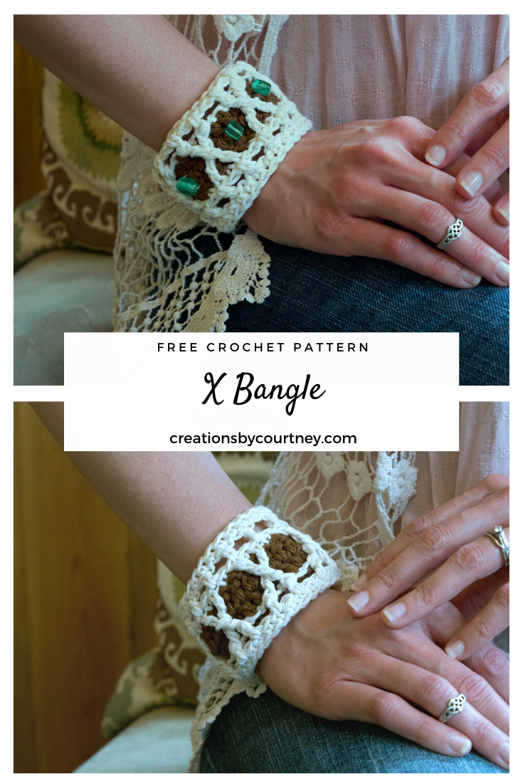 The X Bangle is a quick, stash busting crochet pattern. Use your favorite worsted weight yarn in two coordinating colors to create a timeless accessory. Have fun and add some beads for a truly unique look.