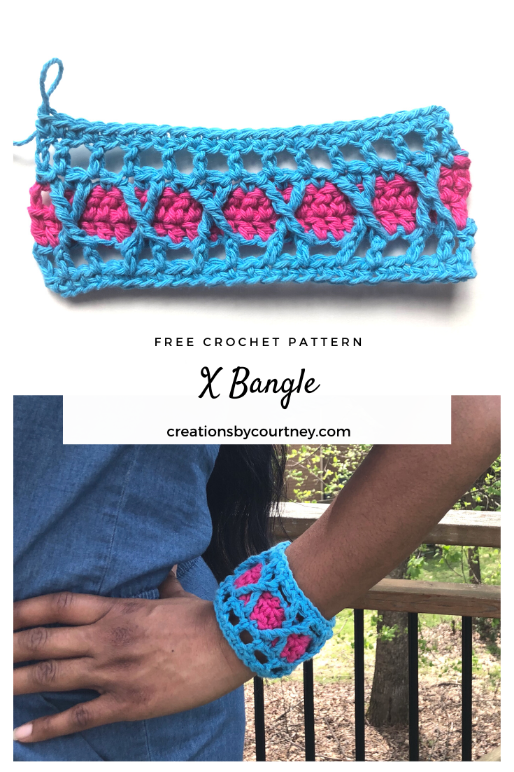 The X Bangle is a quick, stash busting crochet pattern. Use your favorite worsted weight yarn in two coordinating colors to create a timeless accessory. It's so quick, you can make several in an afternoon for your fav wardrobe pieces.