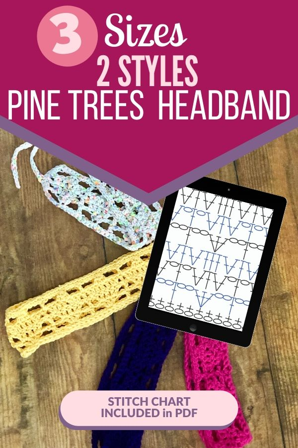 The Pine Trees Headband crochet pattern comes in three sizes and made in the round. You can also make a flat one to fit any size! Grab your favorite worsted weight yarn and make this #stashbusting  pattern in under an hour. #crochetheadband #crochetpattern #crochetaccessory