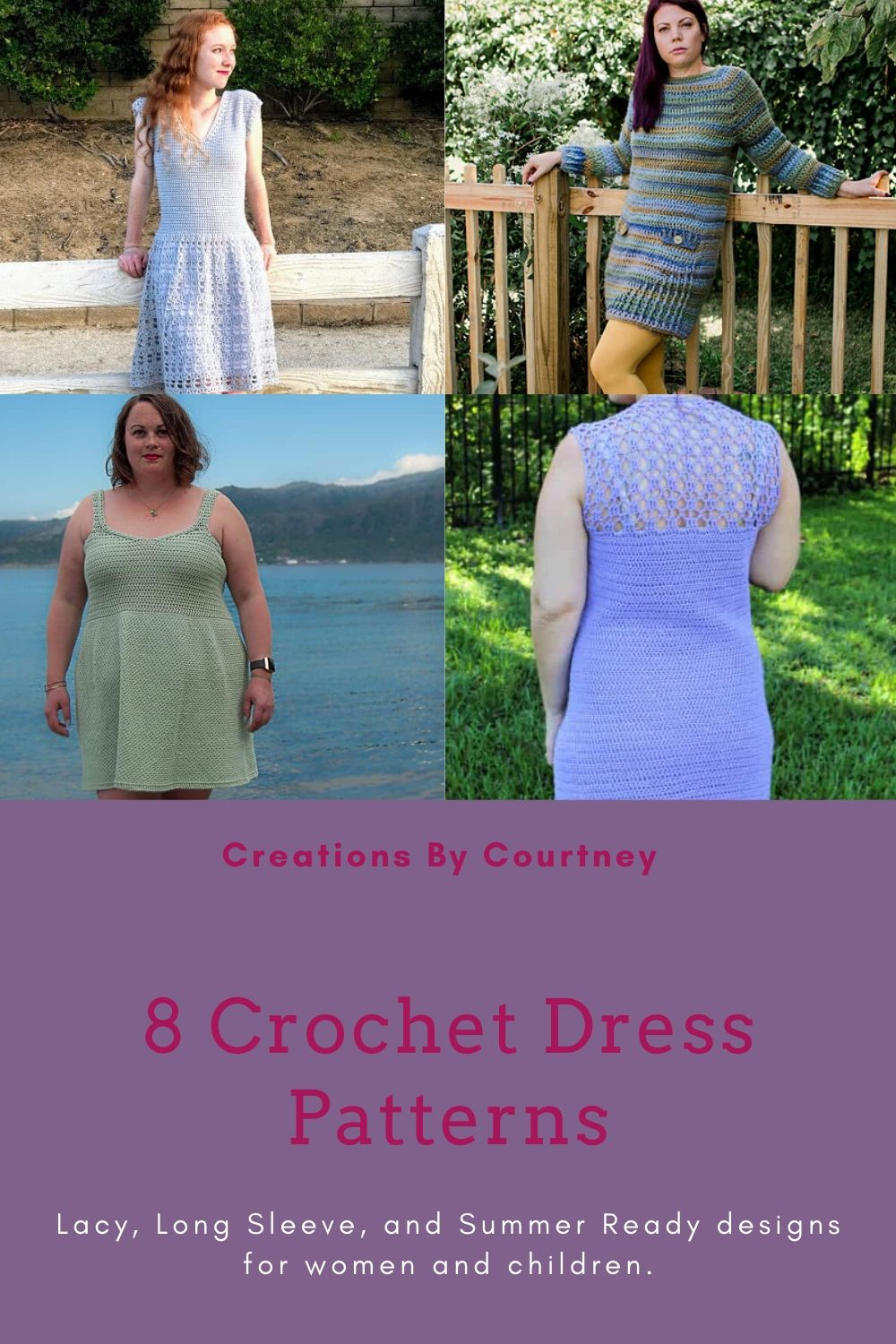 Check out this collection of crochet dress patterns to fit every size and style. From lacy details to tunic styles for cooler weather, and even a tunisian dress for babies. #crochetpatternroundup #crochetpatterns #crochetgarment #crochetdress