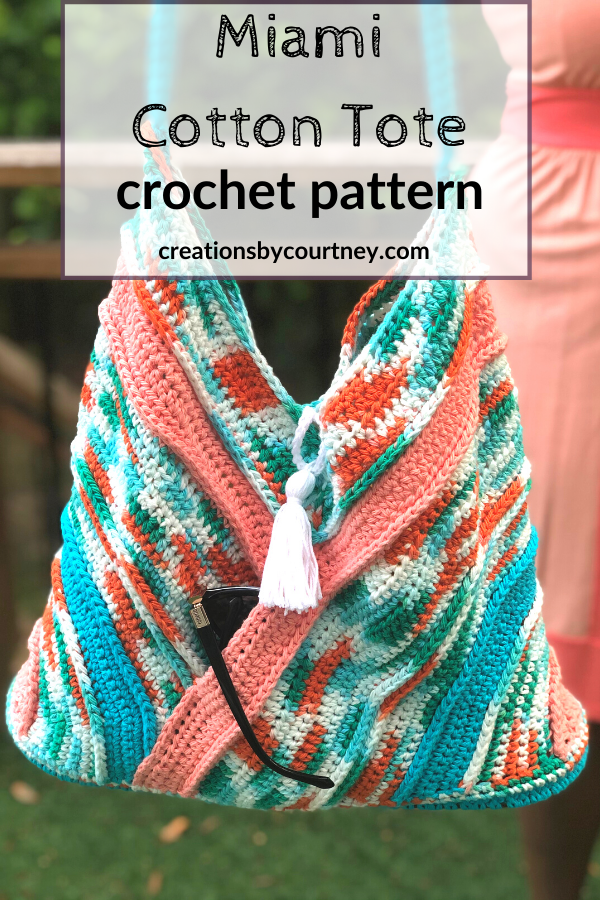 The Miami Cotton Tote crochet pattern includes picture tutorials and schematics to help you assemble. Let you creativity flow by choosing 3 complimentary colors to show your style. You'll enjoy the simplicity of the stitches. #crochetpattern #crochetaccessory