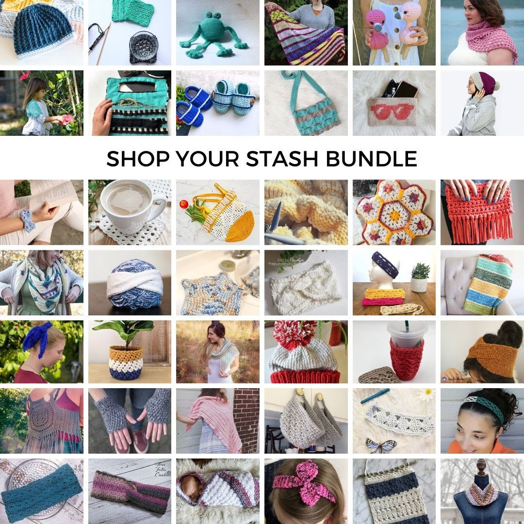 The Shop Your Stash Bundle is over 90% off the retail price for this collection of stylish accessories and garments, as well as bonus patterns! #crochetpatterns #crochetpatternbundle