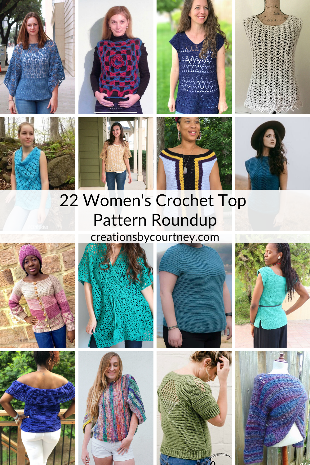 Check out this collection of 22 crochet top patterns. There's an option for every style with lacy layering pieces, texture, and more. #crochetclothing #crochetwomenclothing #patternroundup