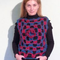 Lacy Broomstick Crochet Top with a Felt Flower