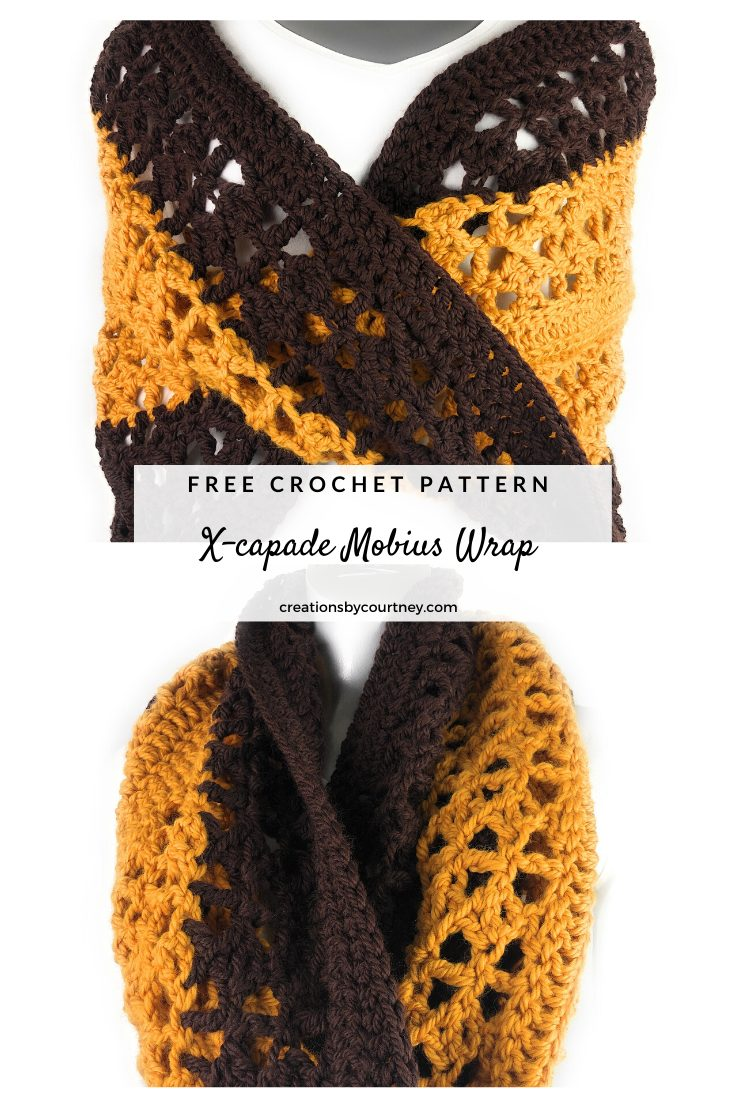The X-capade Mobius Wrap crochet pattern is made with a bulky weight yarn to create a great accessory for the fall winter. Whether worn with a long sleeve top or over a coat, you're going to be complimented on the coziness. #crochetpattern #crochetaccessory #crochetwrap #crochetmobius #freecrochetpattern #paidcrochetpattern