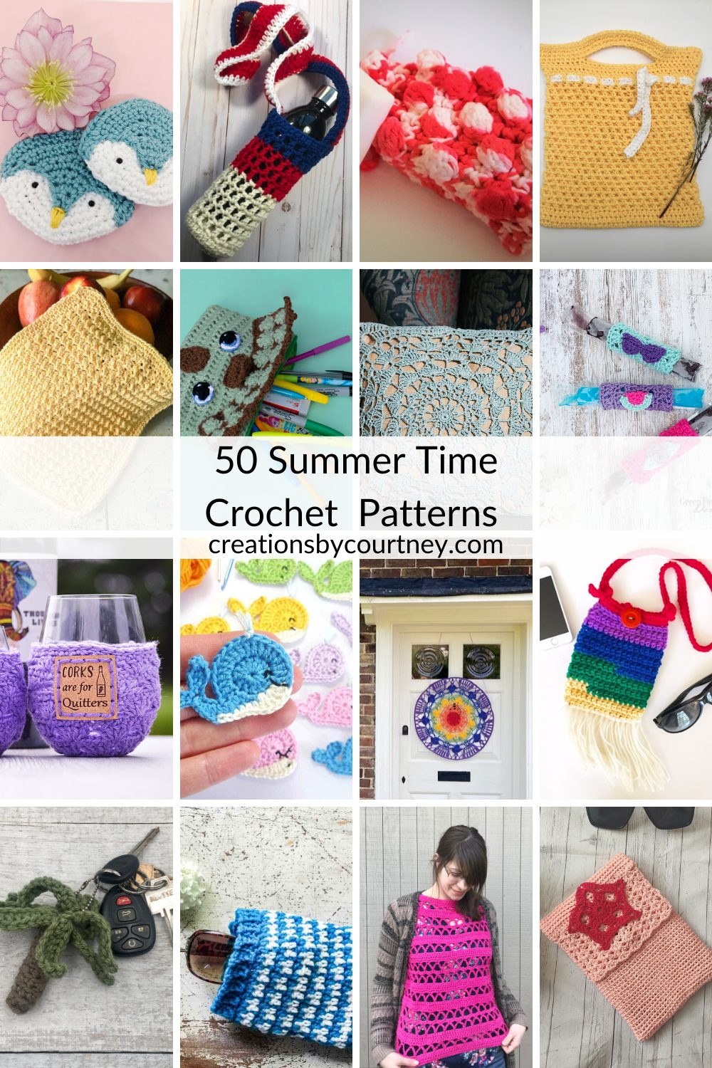 Summer Stitch Along offers 50 crochet patterns perfect for making during long summer days. You'll find appliqués, tote bags, shawls, a poncho and more. #crochetpatterns #freecrochetpatterns #crochettop #crochetaccessory