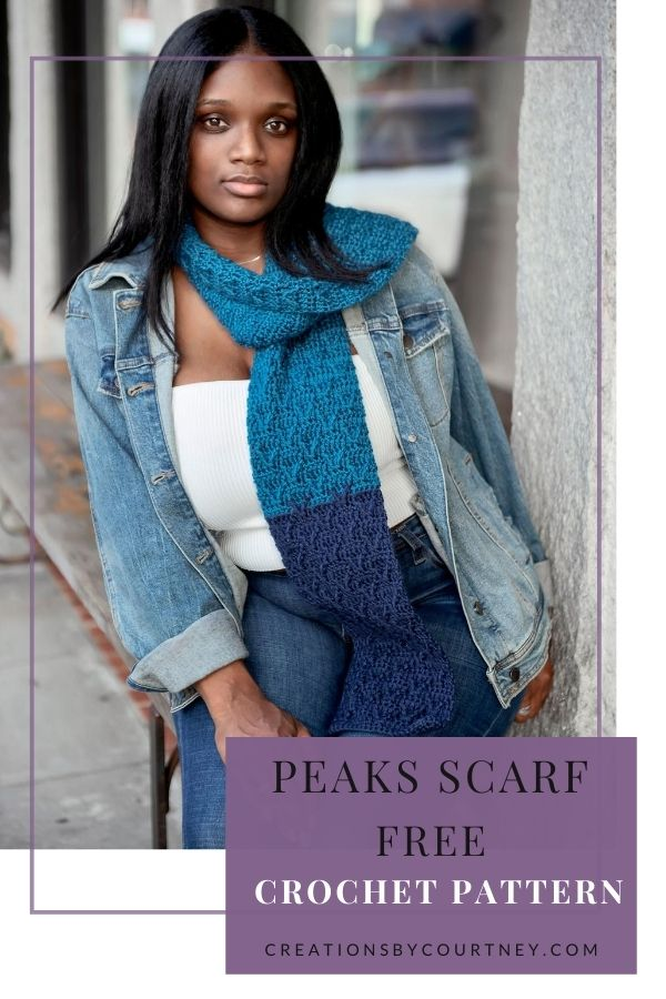 The Peaks Scarf offers three widths and lengths. Grab one or more colors in worsted weight yarn to create lots of texture with post stitches.