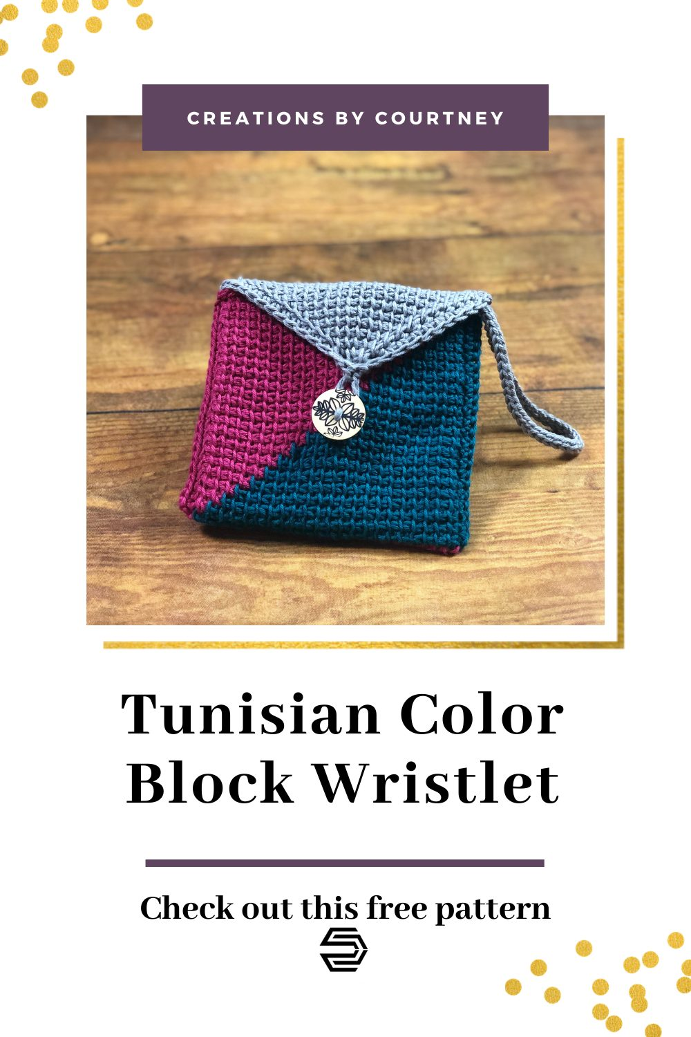 The Tunisian Color Block Wristlet is a free crochet pattern. You can learn how to make a color change in tunisian simple stitch and make increases at the beginning and end of a row. Besides this being fun to make, it's also a stash busting project only requiring 44 yards of the two main colors and 16 yards of the third color.