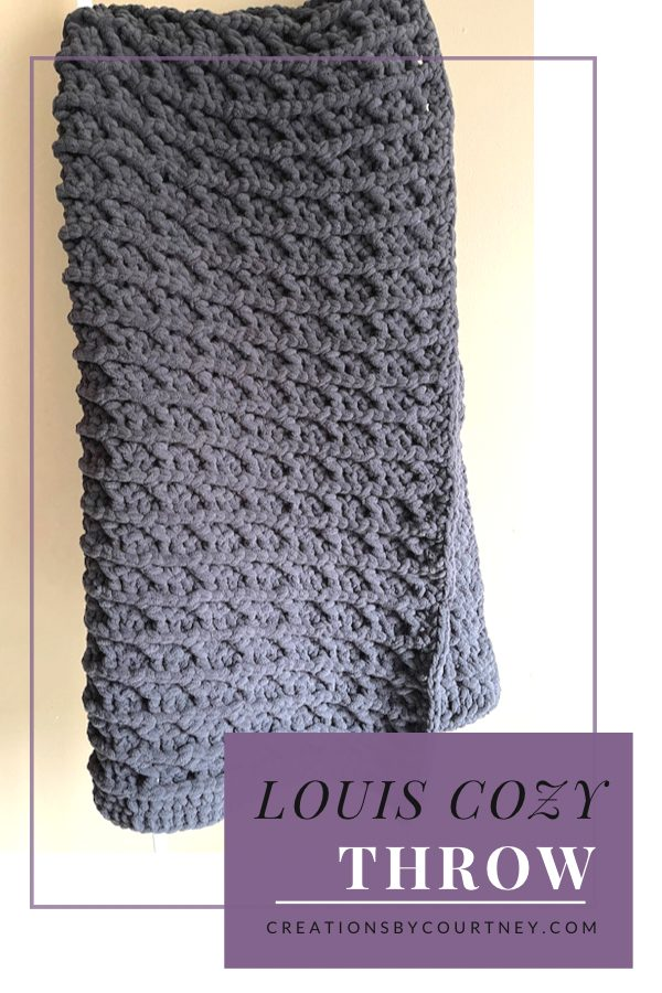 The Louis Cozy Throw will become your new favorite crochet blanket for the home. It's made with a textured stitch to keep your interest no matter what size you choose to make. This stitch combination is so great that even the back looks great too. It's squishy and heavy for extra coziness. Grab your favorite shade of Lion Brand Cover Story or another super bulky yarn to make one with #calcentral as part of the Cozy at Home Crochet Along. Head over to Creations by Court eye to check out the free crochet pattern.