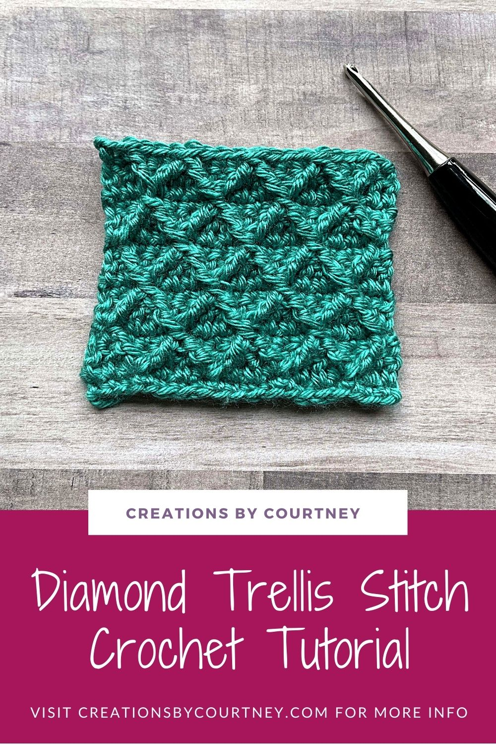 Let me show you how to crochet the diamond trellis stitch with picture and video! It's a fun stitch to make that creates 3D texture for any crochet project with front post treble crochet, double crochet and single crochet stitches.