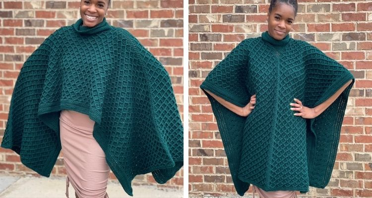 Two different views of a hunter green crochet poncho that has diamond shaped stitches.
