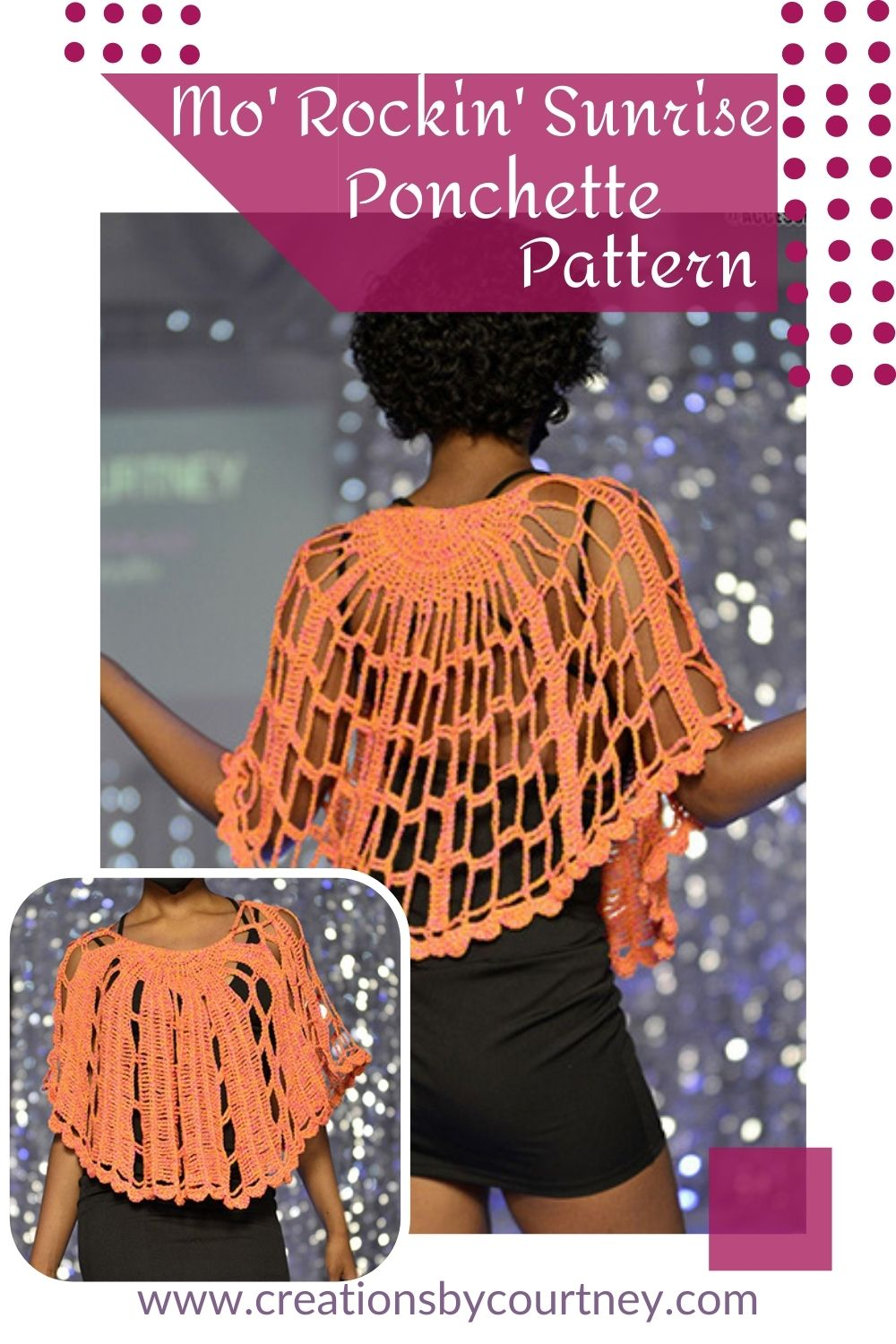 Grab your favorite DK weight yarn to make this fun to wear short poncho. The Mo'Rockin' Sunrise Ponchette offers 2 distinct sides and 3 ways to style. Enjoy making this free crochet pattern.