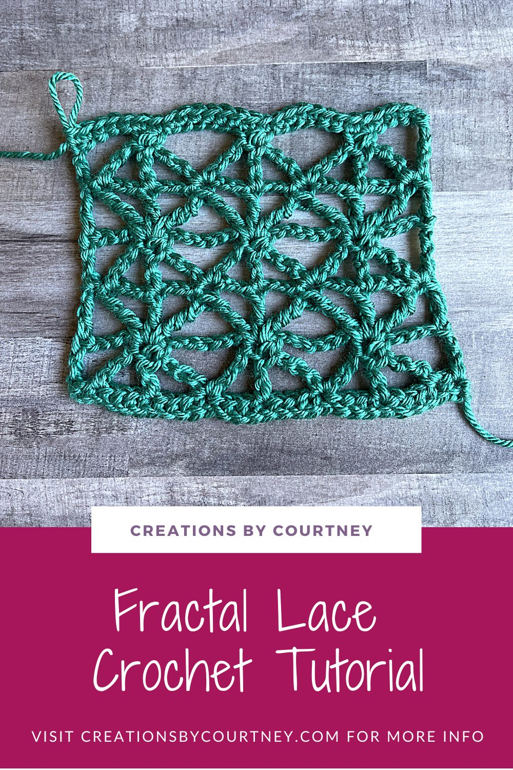 The Fractal Crochet Lace is created with a simple 2-row repeat that creates visual interest for the eyes. It's best to practice with natural fibers that can be blocked to really show off the stitch pattern.