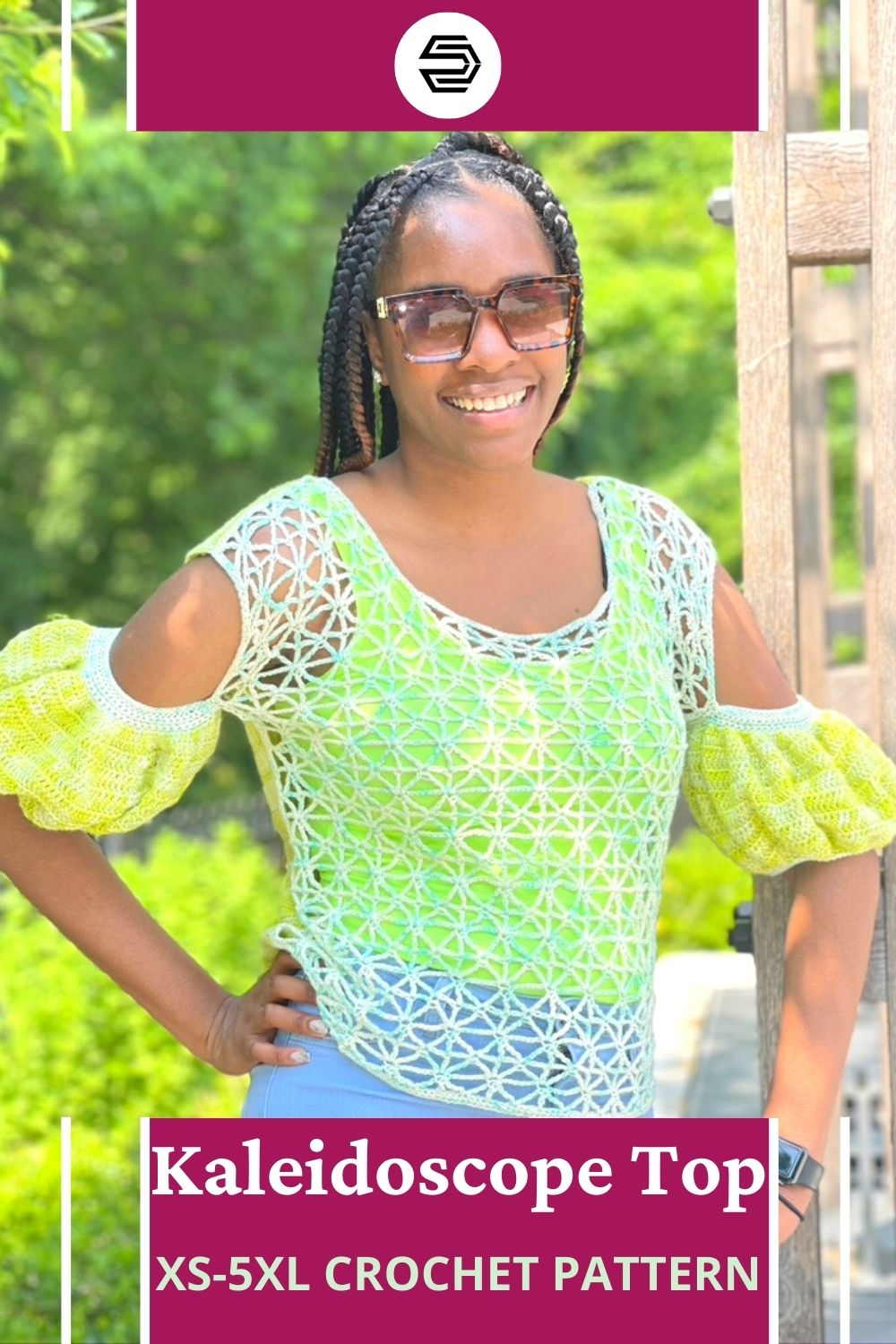 The Kaleidoscope Top is a size-inclusive crochet garment made with fingering weight yarn. With two unique sides and puff sleeves, it's reversible to show your style for any occasion. #creationsbycourtney #happinessmakealong2021
