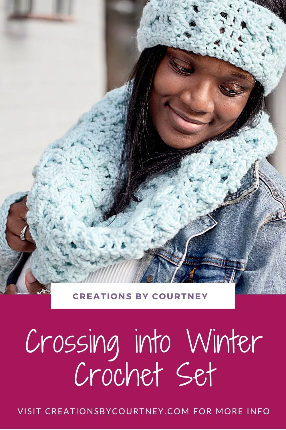 The Crossing into Winter Set crochet patterns offer an ear warmer, fingerless mitts, and a cowl to be made in chunky yarn. With multiple sizes, you can make a set for your entire family.